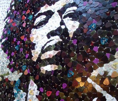 Из медиаторов Fender сложен портрет Джимми Хендрикса
